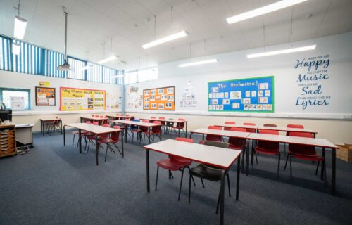Empty and bright school room